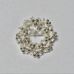 Silver Wreath and Berry Brooch with Bow Vintage